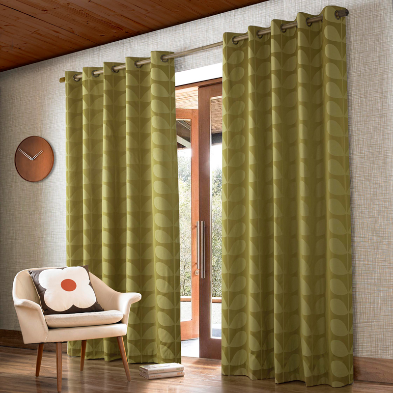 Jacquard Stem Yellow-Olive Ready Made Curtains