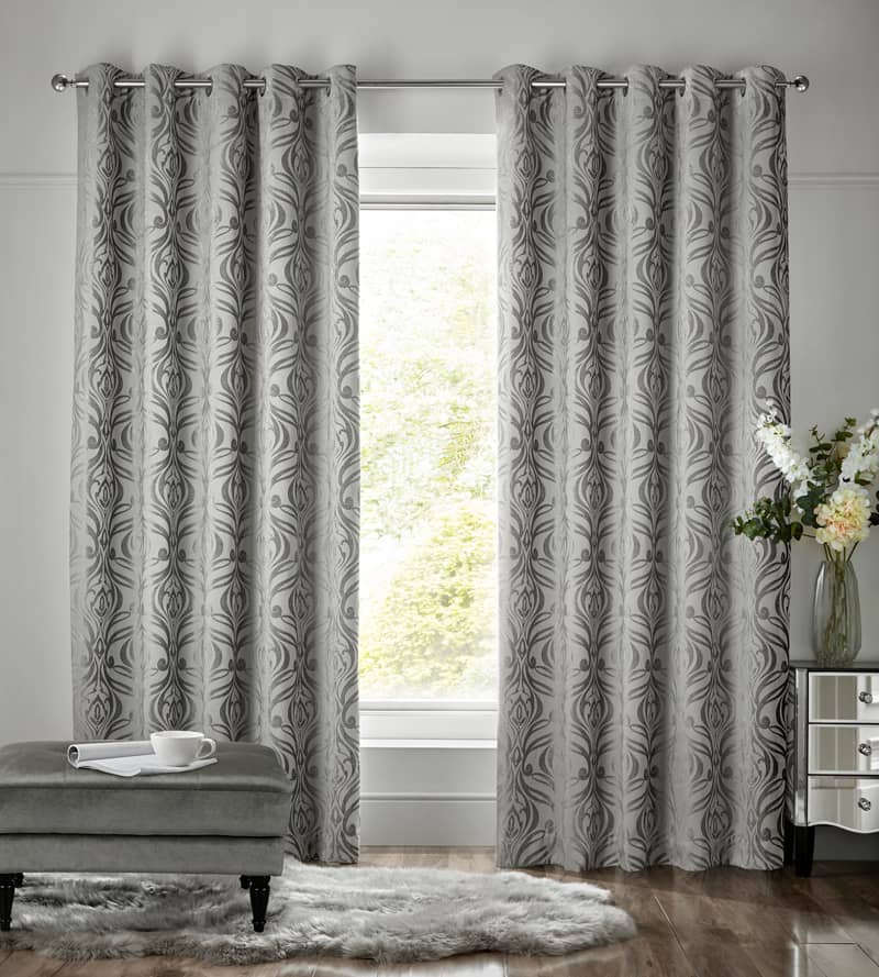 Fiorella Steel Ready Made Curtains