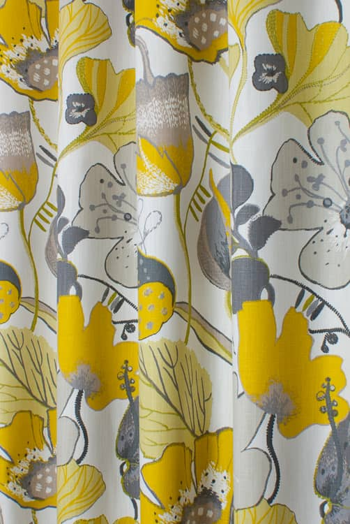 Lotus Chartreuse/Charcoal Curtain Fabric