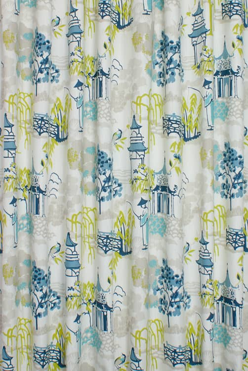 Pagoda Apple/Denim Made to Measure Curtains