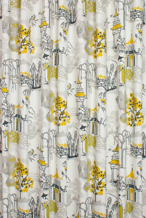 Pagoda Chartreuse/Charcoal Curtain Fabric
