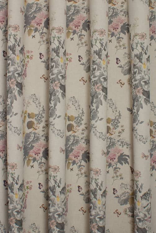 Botanical Bouquet Linen/Grey Curtain Fabric