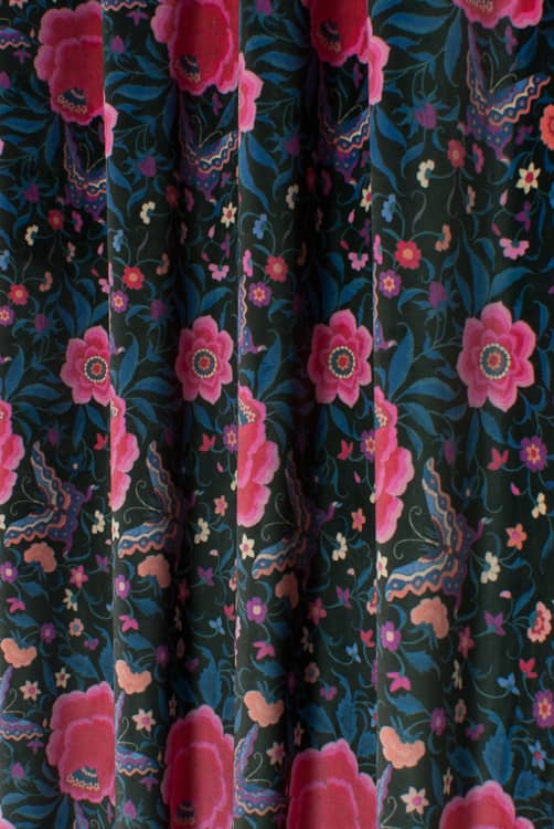 La Habana Velvet Black Curtain Fabric
