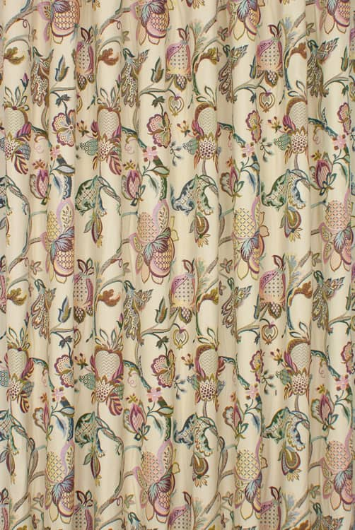 Jacobean Cranberry Curtain Fabric
