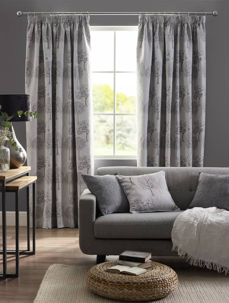 Arden Silver Ready Made Curtains