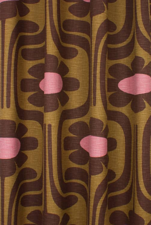 Slub Cotton Climbing Daisy Ochre Made to Measure Curtains