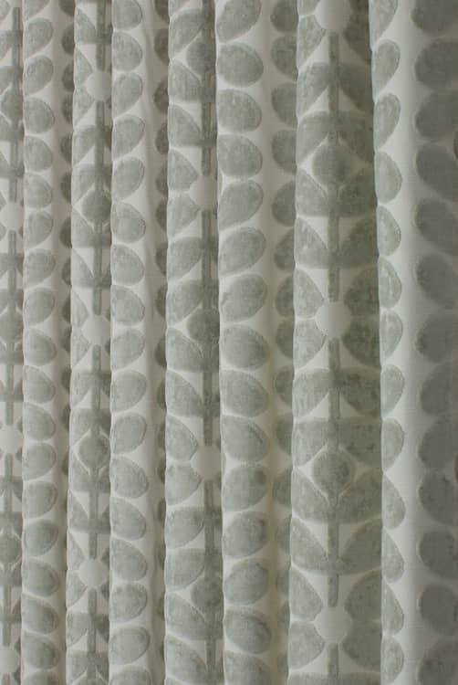 Velvet Sixties Stem Mist Grey Curtain Fabric