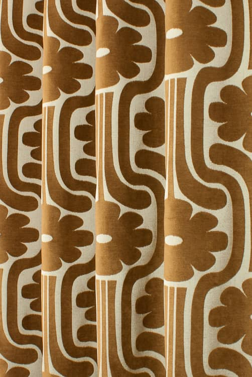 Woven Climbing Daisy Tan Made to Measure Curtains