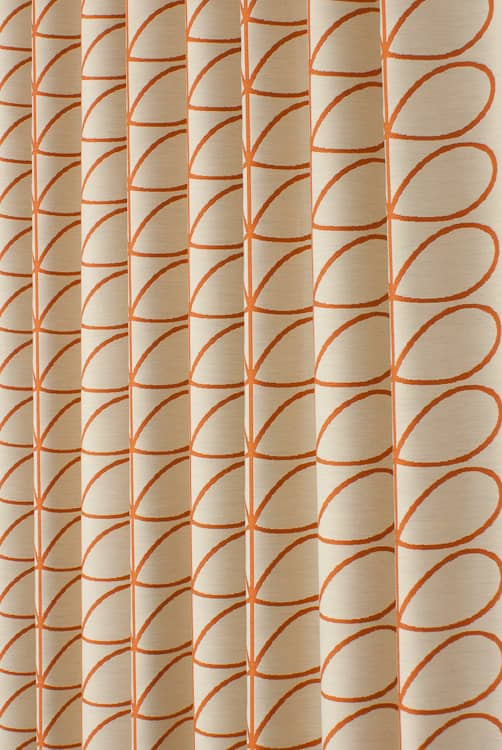 Woven Linear Stem Orange Curtain Fabric