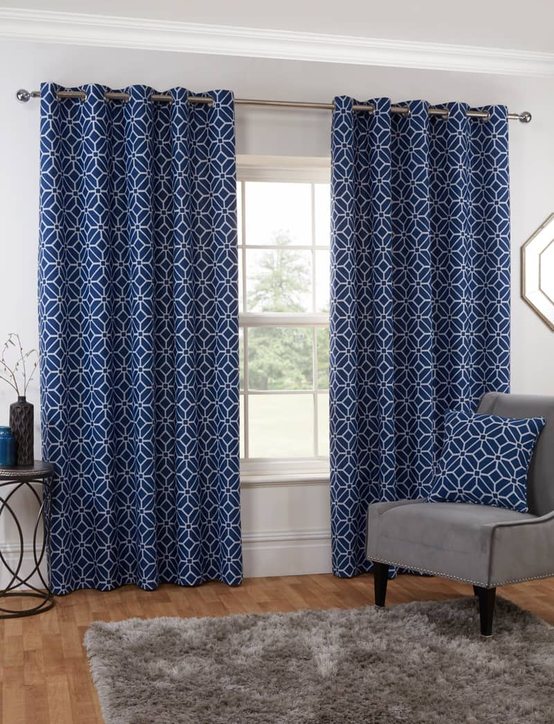 Kelso Navy Ready Made Curtains