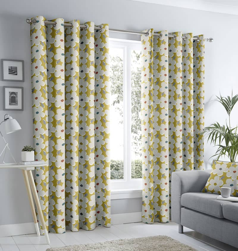 Aura Ochre Ready Made Curtains