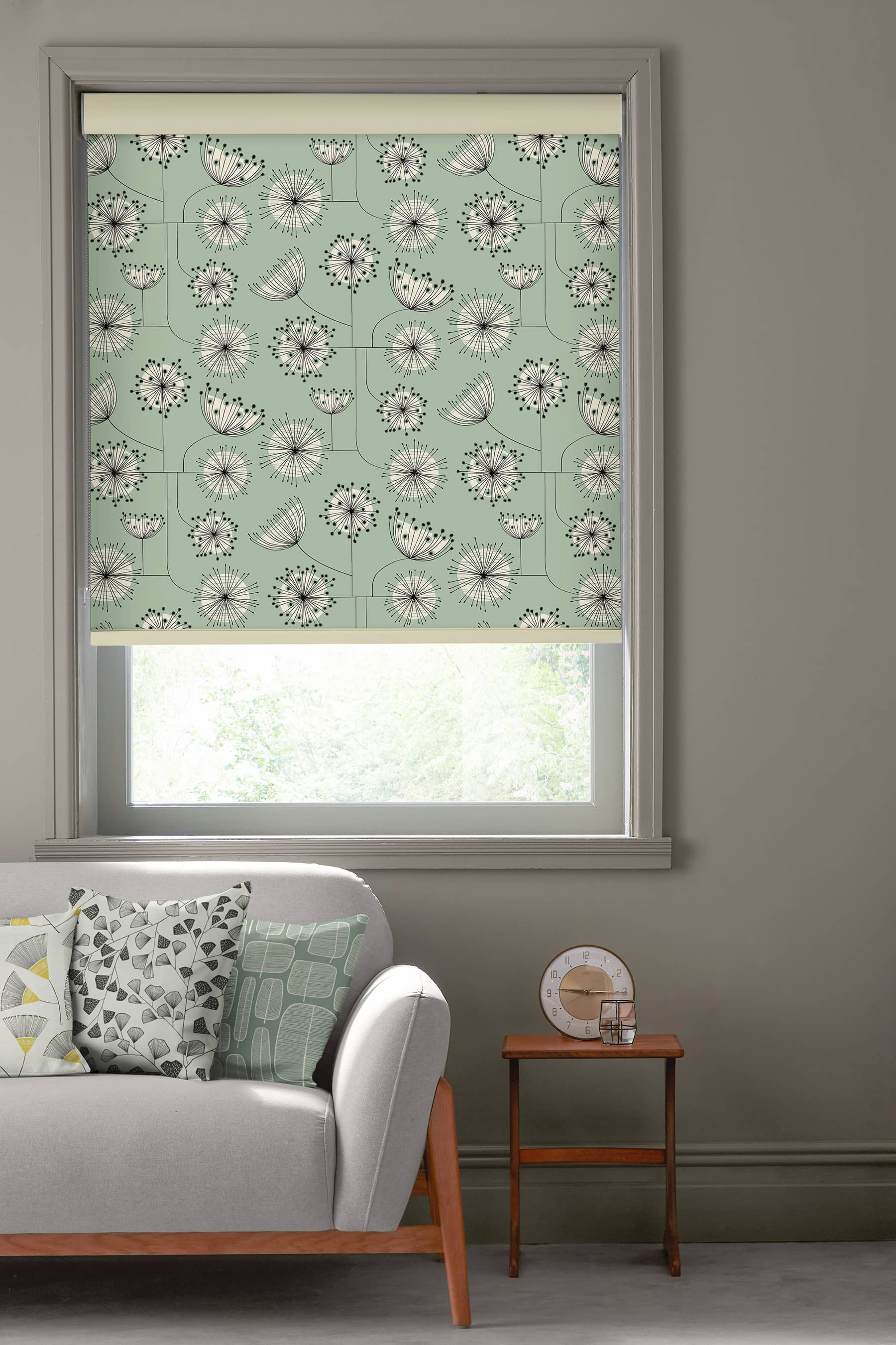 Dandelion Mobile Mist Green Roller Roller Blinds