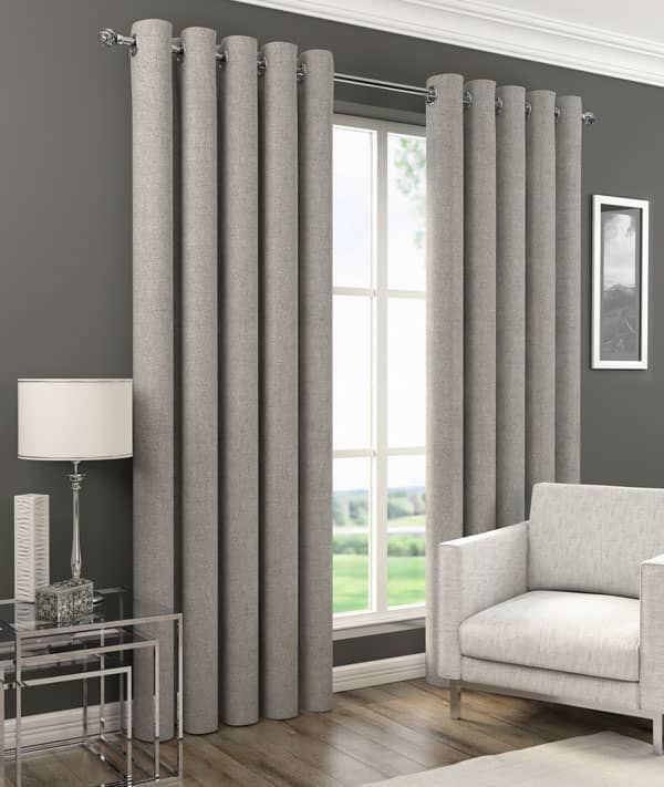 Orion Eyelet Grey Ready Made Curtains