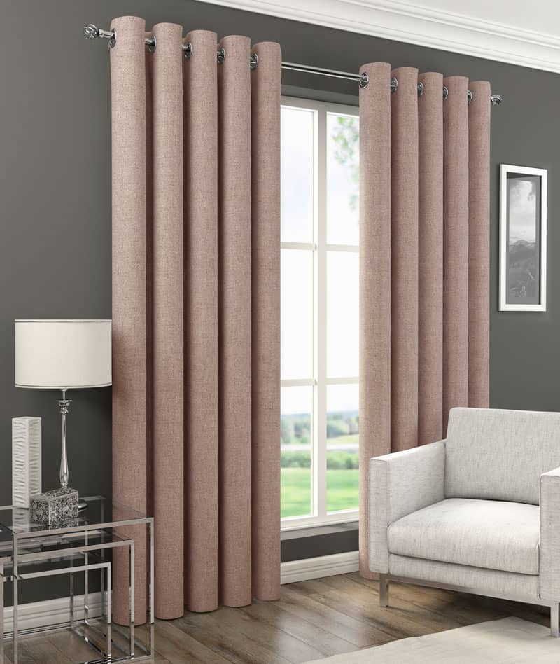 Orion Eyelet Blush Ready Made Curtains