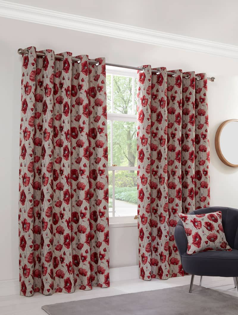 Poppy Red Ready Made Curtains