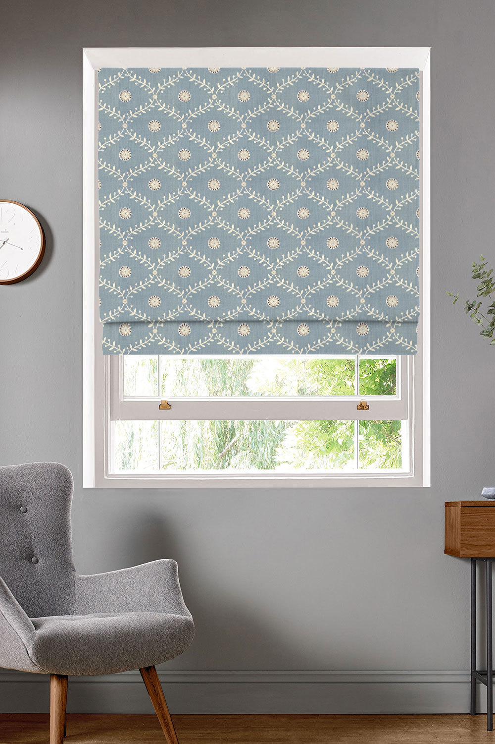 Bluntington Powder Blue Roman Blinds
