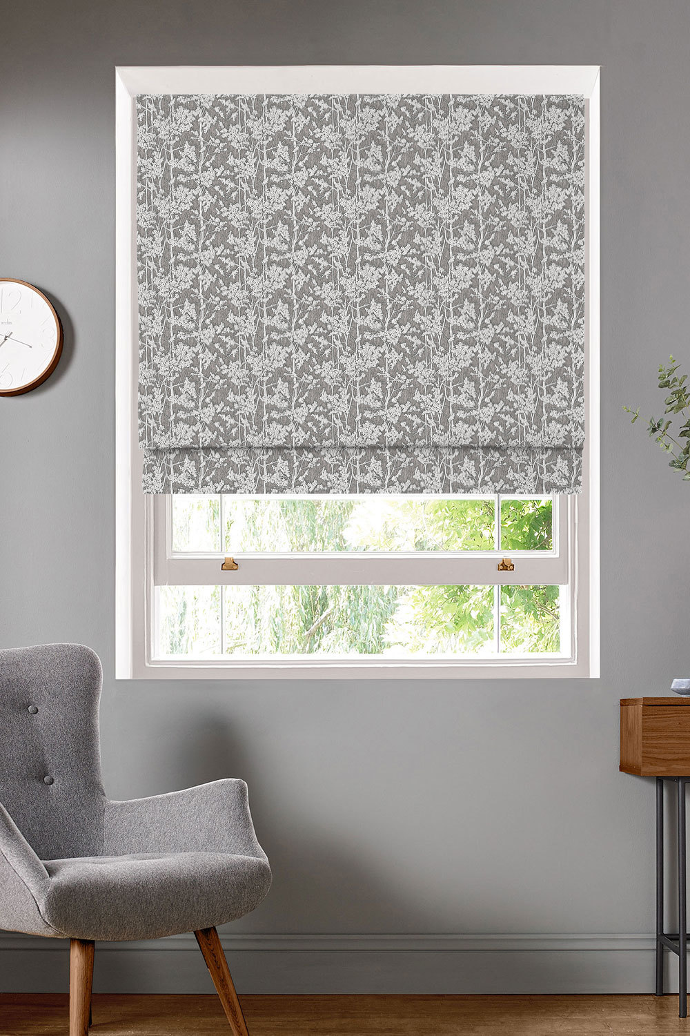 Spruce Graphite Roman Blinds