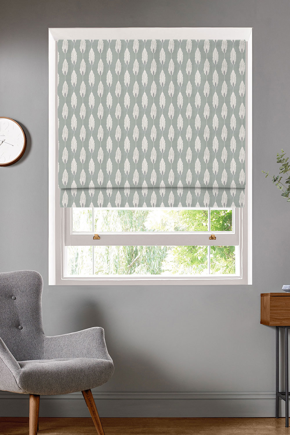 Feather Azure Roman Blinds