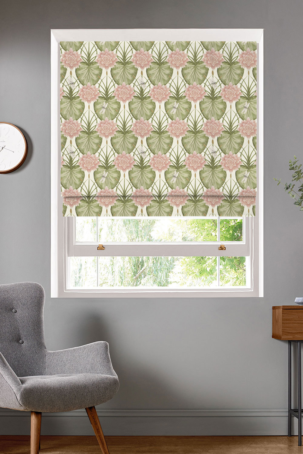 Lily Garden Cream Roman Blinds